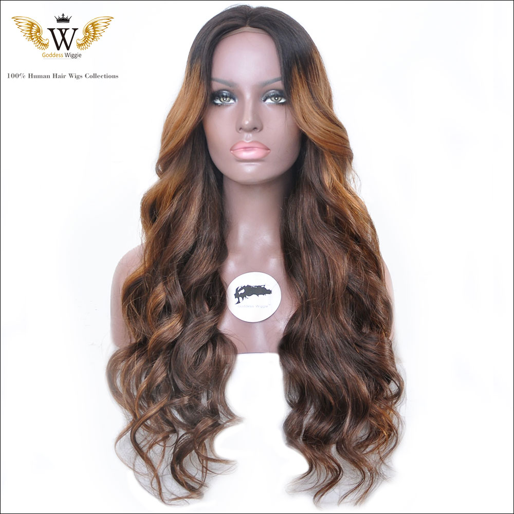 150Density Glueless Ombre Lace Front Curly Human Hair Wigs/Full Lace Human Hair Wigs With Baby Hair For African Americans