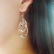 Fashion Alloy Stylish Women Double Loop Wave Plated Dangle Earrings Gift Silver High Quality(China (Mainland))