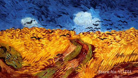 Buy art canvas online,Wheatfield with Crows-Vincent Van Gogh reproduction paintings,Hand-painted,High quality(China (Mainland))