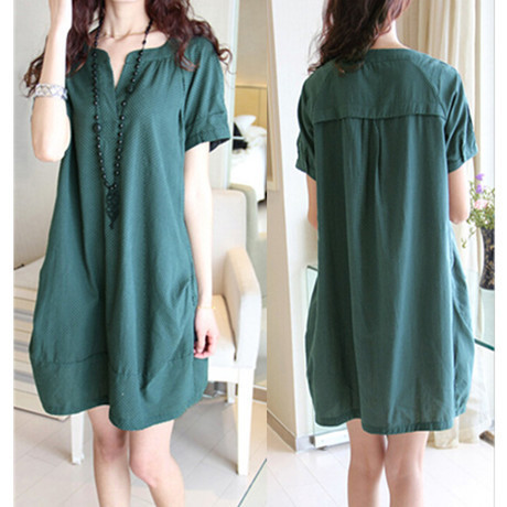 Korean Fashion Dots Linen V neck Maternity Dresses/Dress ...