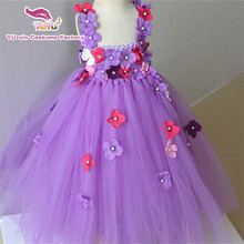 1-8 year kids dress purple handmade girl dress,100% Nylon tulle tutu dress with lining