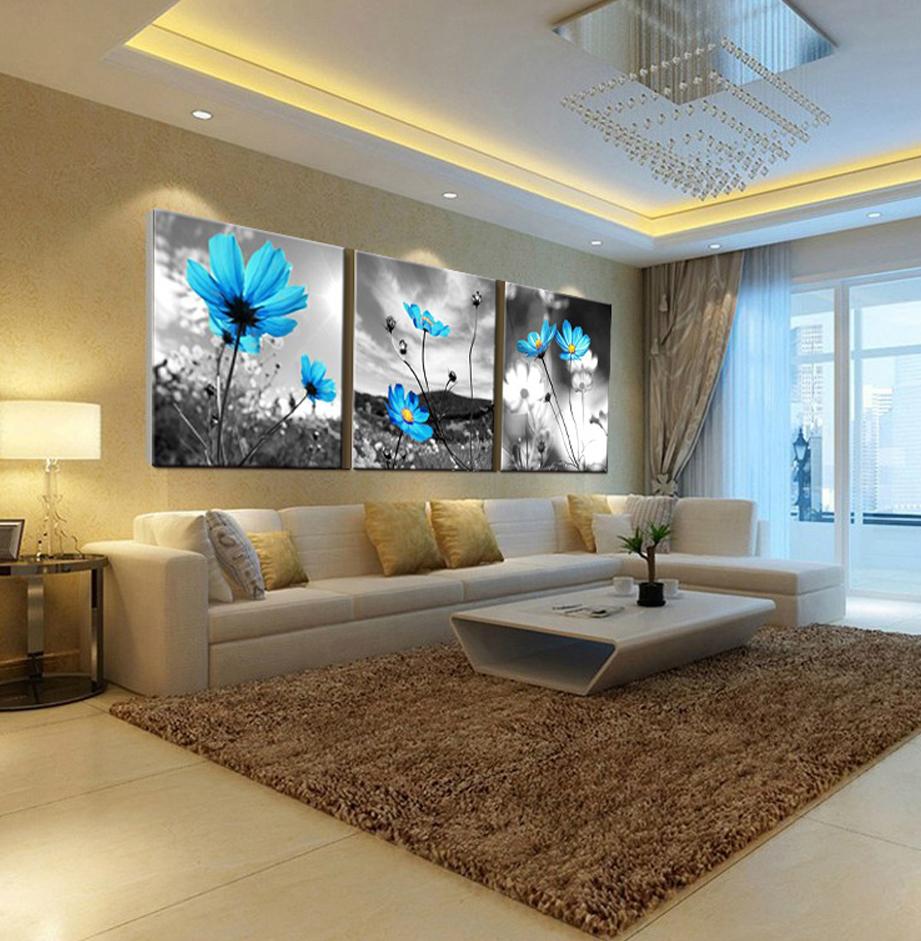 blumen 3 st ck lgem lde kunst dekorative wandbilder f r. Black Bedroom Furniture Sets. Home Design Ideas