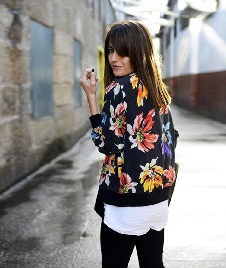 Новых женских осенних свободного покроя Fit винтаж цветочный печать тонкий почтовый куртки пальто
