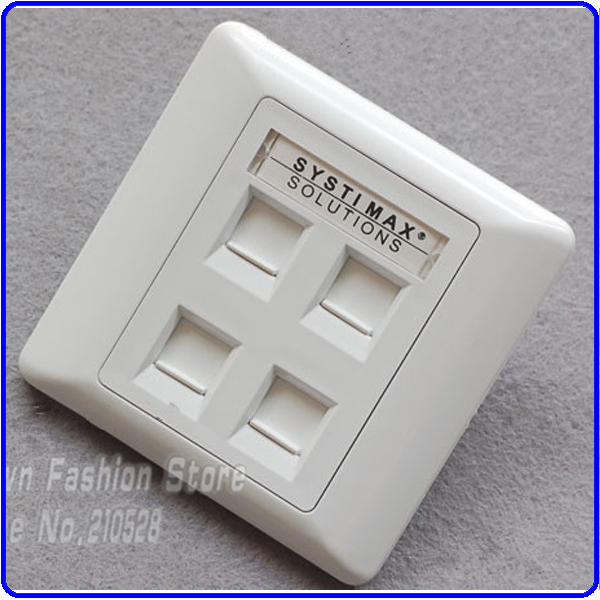 SYSTIMAX 4ports Network RJ45&amp;RJ11 Face Plate  86*86  with best quality 5Pcs/Lot<br><br>Aliexpress