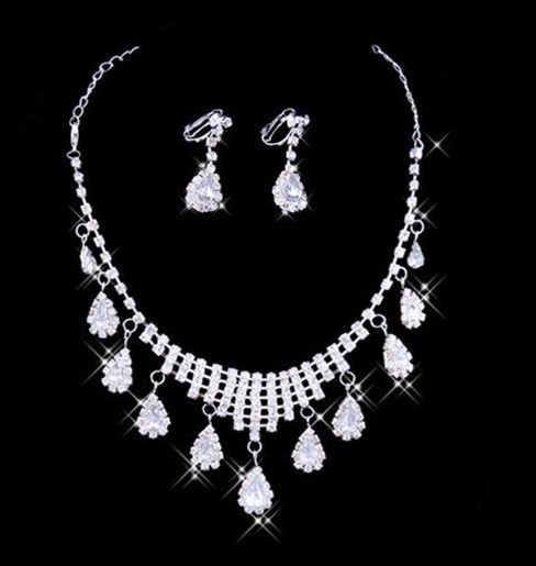 ladies'  Silver Wedding  Jewelry Nacklace & Earring  Bridal Jewelry Set