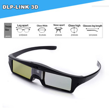 Hot selling cheap 3D glasses 144HZ dlp 3d active shutter glasses for DLP LINK projector black USB rechargeable(China (Mainland))