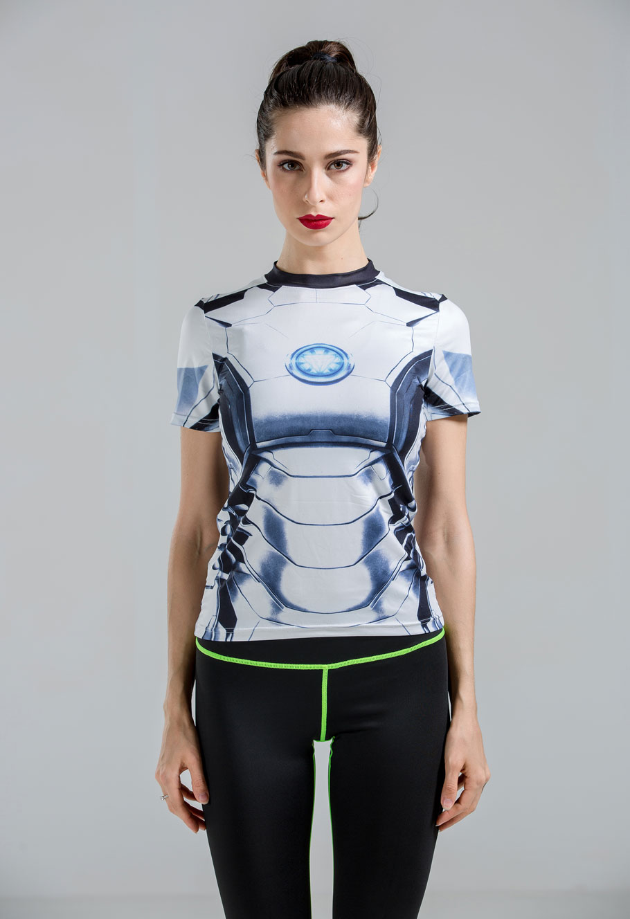 Women sports gym superman t shirt quick dry compression armour tee shirts women running lycra under tops tights poleras de mujer(China (Mainland))