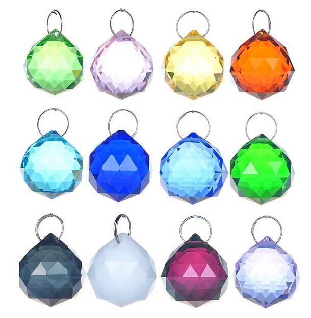 10PCS/lot 30mm Mixed color crystal faceted ball crystal feng shui ball glass chandelier prism pendants for lamps <br><br>Aliexpress