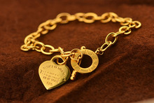 Famous Brand Jewelry/ High Quality Rose Gold Stainless Chain Link Heart Steel Bracelet Bangles(China (Mainland))