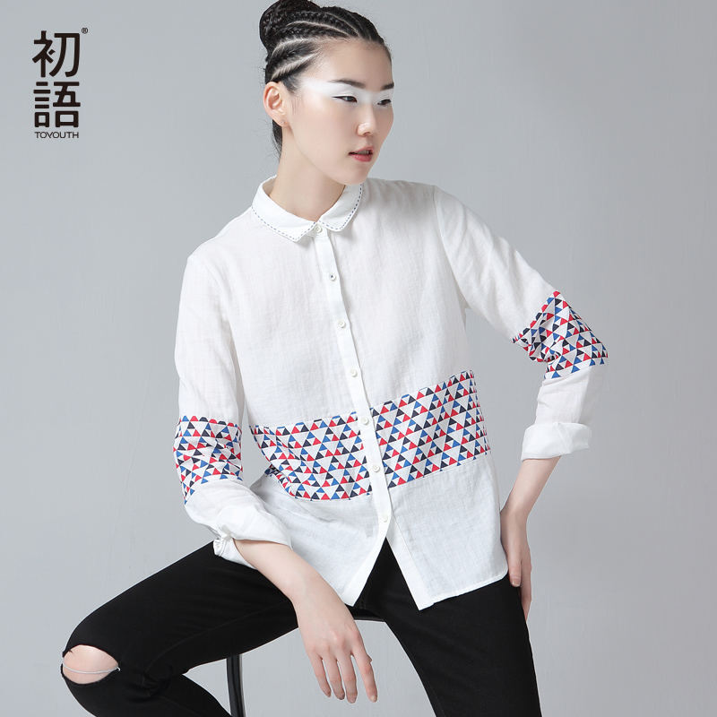 Toyouth Wear work Shirt Geometric Pattern Long Sleeve Turn Collar Casual White Blouse