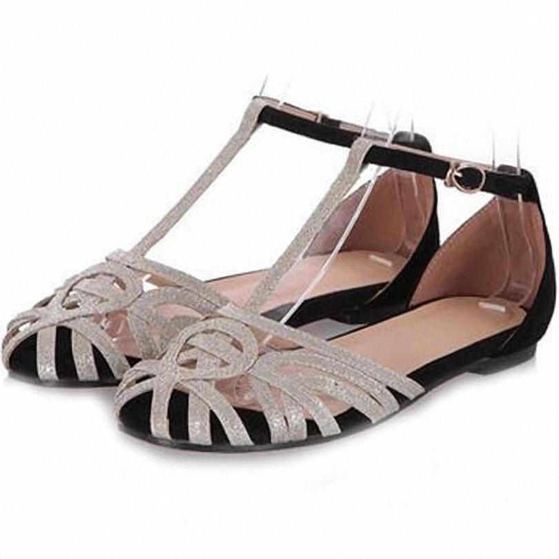 ENMAYER big sizeT-Strap Sheepskin flats Sandals new women Sandals Cover Head platform shoes women Summe shoes women sandals 2015<br><br>Aliexpress