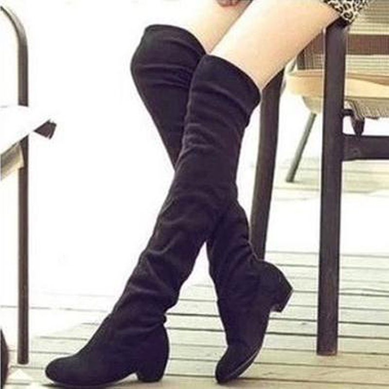 Boots Women Sexy Knee High Boots Fashion Shoes Spring Autumn Winter Boots Slip-on Leisure Folding Woman botas femininas XWX500