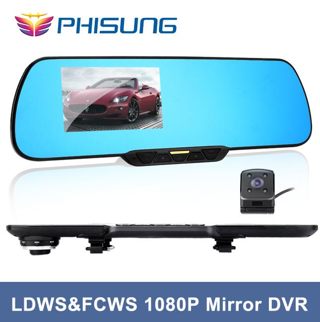 2015 New FHD 1080P Dual lens car dvr with 720p back camera parking LDWS & FCWS rear view mirror car video recorder Phisung#C18(China (Mainland))