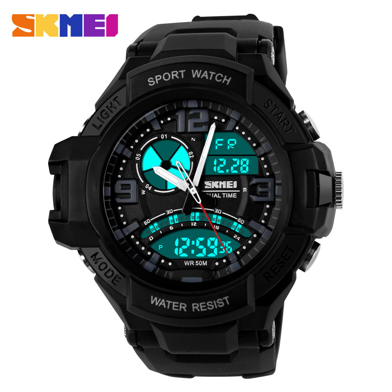 SKMEI 2016 New china Brand Men fashion Sports Watches analog Digital LED Quartz Wristwatches black rubber band relogio masculino(China (Mainland))