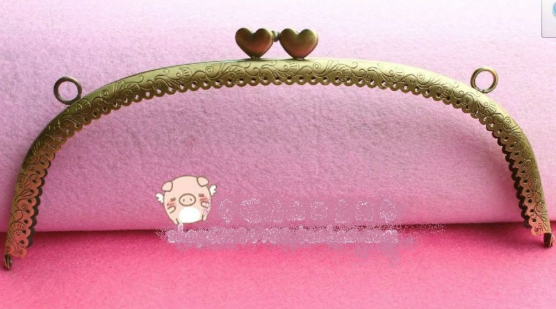 "9.6"" Big Vintage Retro Bronze sewing purse frame with heart hasp, wholesale, free shipping, dropship(China (Mainland))"