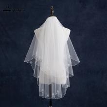 Stock 2 Layers White Ivory Short Wedding Veil with Comb Crystal Bead Edge Wedding Accessory(China (Mainland))