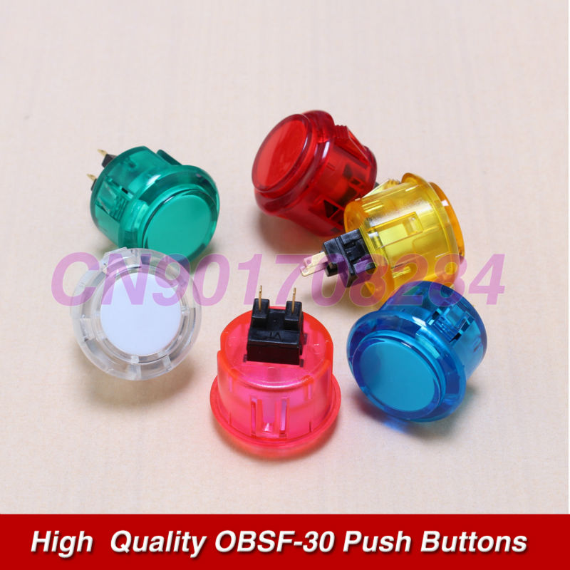 10x New OEM 30mm Clear Transparent Push Buttons Replace For Arcade Sanwa OBSF-30 Button Choose of 6 Colors(China (Mainland))