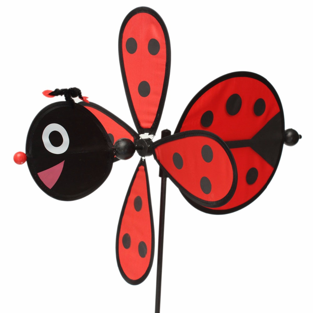 2016 New pinwheel Large Bumble Bee Ladybug Windmill Wind Spinner Whirligig Home Yard Garden Decor Child baby toy for outdoor fun(China (Mainland))