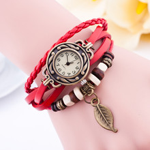 Cheap!! Hot Sale Vintage Watch Women New Fashion Brand Hanging Leaves Wristwatch Leather Strap Causal Watch Analog Quartz Watch