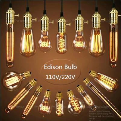 Wholesale Price Retro Vintage Edison Bulb Light E27 Incandescent Bulb ST64 G80 A19 Filament Bulb Edison Lamp Home Decor Lights(China (Mainland))