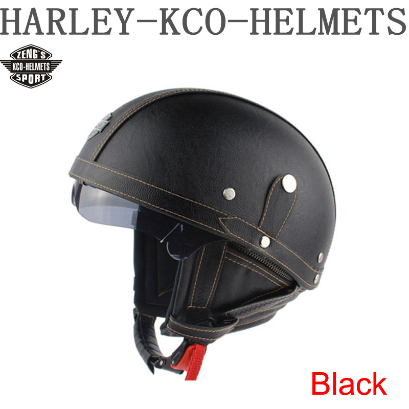 HOT KCO Manual customization Motorcycle Scooter Half Face Leather Halley helmet Classic Retro Brown helmets & free Goggles(China (Mainland))