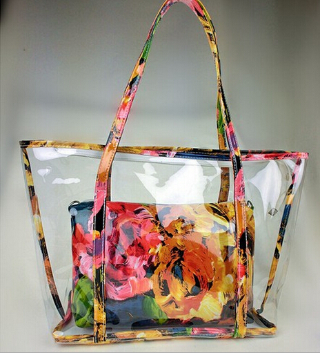 Popular women summer handbag shoulder Candy PVC clear Beach bag shoulder bag Transparent pvc clear handbags tote for women(China (Mainland))