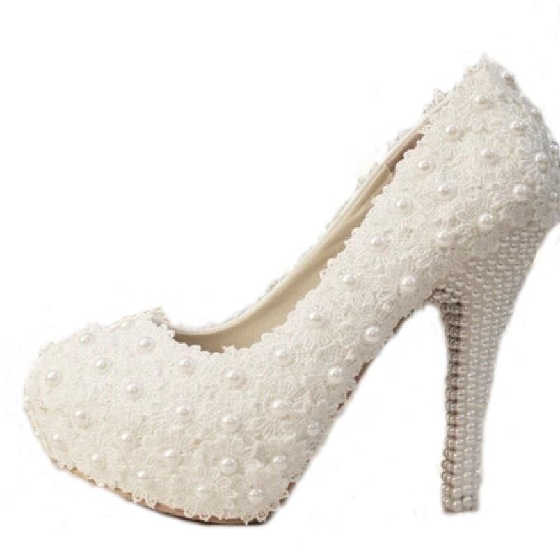 3cm/5cm/10cm/12cm/14cm Women Fashion Sweet White Flower Lace Platform High Heels Pearls Wedding Shoes Bride Dress Shoes(China (Mainland))