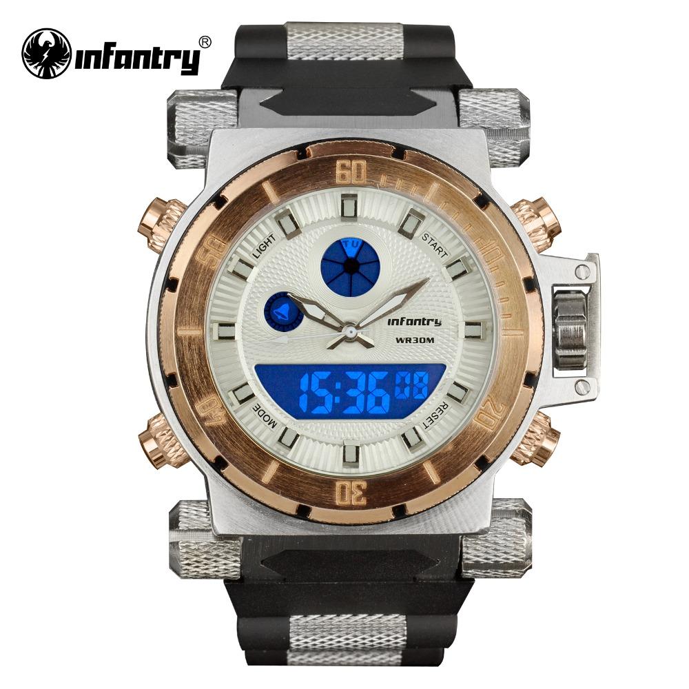 INFANTRY Mens Digital Quartz Golden Style Wrist Watch Backlight Chronograph Stopwatch Black Rubber NEW<br><br>Aliexpress