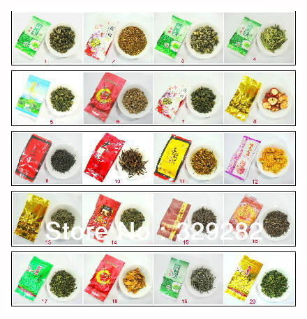 20 pcs 20 Different Flavor Famous Tea Ginseng oolong Milk oolong TieGuanYin Green tea Puer DaHongpao