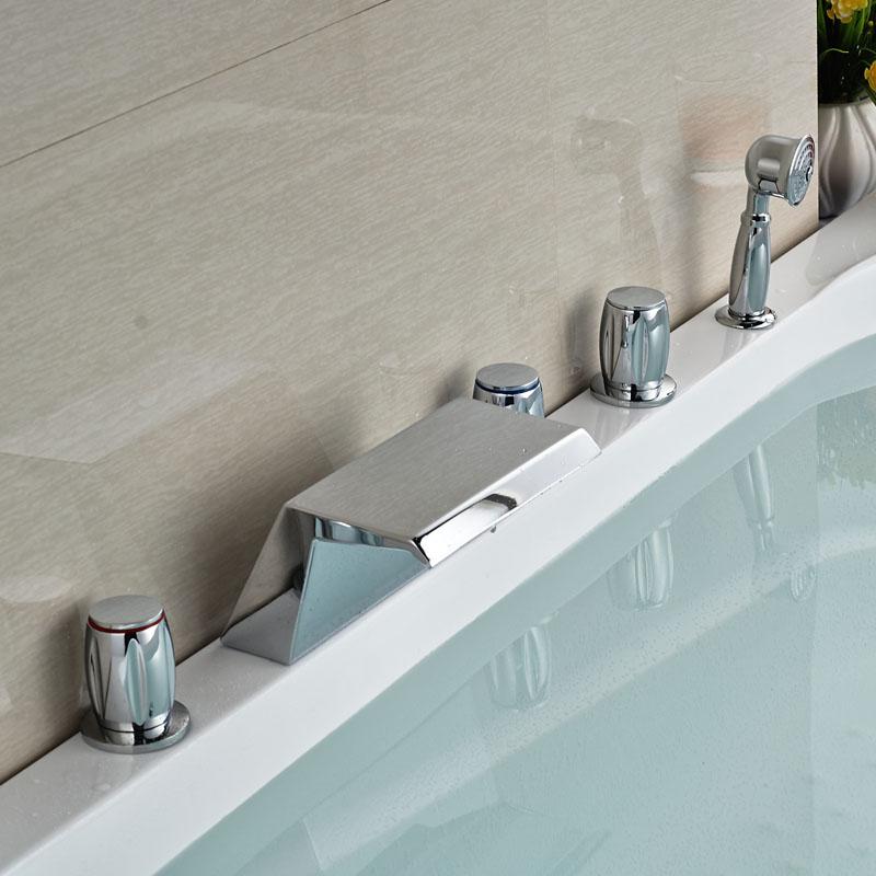Фотография Contemporary Deck Mounted Chorme Finish Tub Faucet Bathroom 5pcs Tap W/Hand Shower 5 Holes Faucet