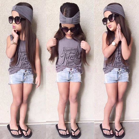 Brand New Summer Style Children Clothing Set 3PCS Outfit Sets Casual Girls Clothes 2015 Fashion Tank Tops Denim Shorts Headband(China (Mainland))
