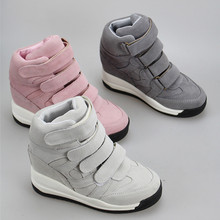 2015 Autumn Winter genuine leather Shoes Women high-top Wedge Sneakers Women's platform shoes Wedges High Heel Sneakers 0188