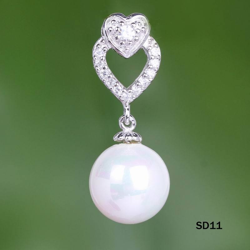 wholesale 10pcs Brilliant White Crystal Zircon & Pearl 925 Sterling Silver Hearts Necklace Pendant SD11, Hot!(China (Mainland))