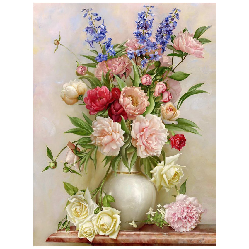 Red Flower Pattern Diamond Embroidery DIY Needlework Painting Cross Stitch 3D 5D Rhinestones Home Decor - Shenzhen International Co., Ltd store
