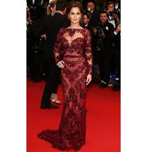 Evening Dress Red Long Dress Scoop Sweep Train 2017 Elegant Mermaid Evening Dresses with Long Sleeves(China (Mainland))