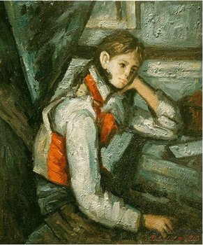 Cezanne Oil Painting-Boy in a Red Waistcoat Leaning on his Elbow,24*29inch,Free Shipping C259[Colorful Life]