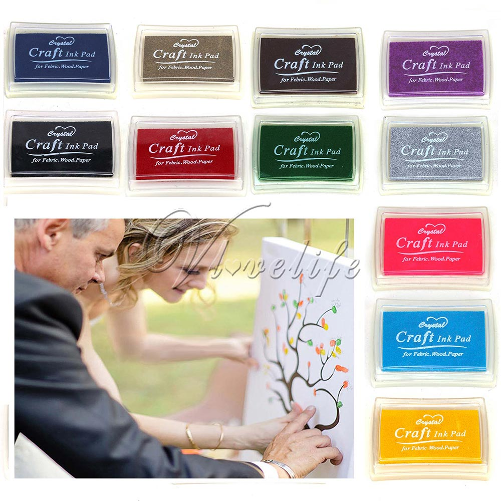 Candy Color Ink Pad Oil Wood Craft for Wedding Party Fingerprint Tree DIY Scrapbook Ink Stamps Decor Office School Supplies(China (Mainland))