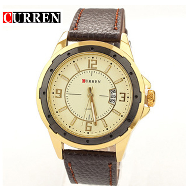 CURREN new fashion casual quartz watch men large dial waterproof chronograph releather wrist watch relojes free shipping 8124(China (Mainland))