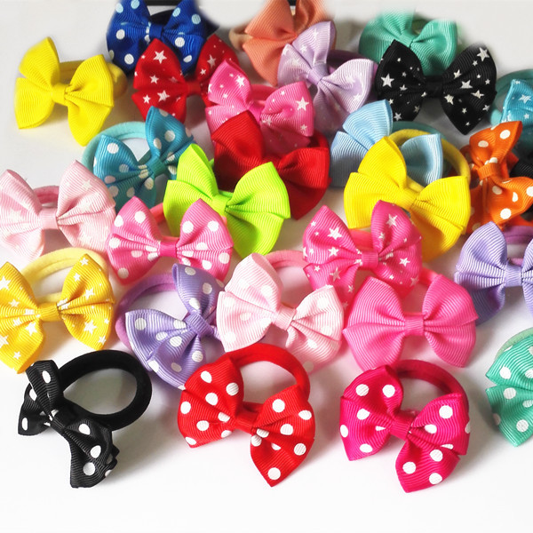 5 Pairs (10 Pcs) Sweet Solid Print Bow Elastic Hair ropes Kids Hair ties Adorable Ponytail Holder Hair Accessories(China (Mainland))
