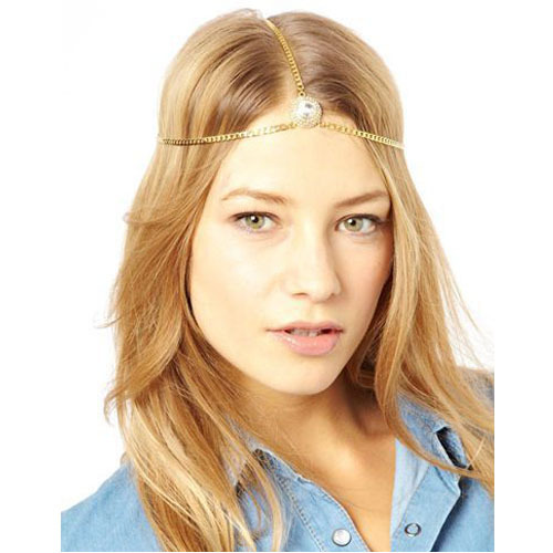 Hot Brand Fashion Women Head Chain Hair Jewelry Gold Color Big Round Decoration Full Crystal Hairwear Lady Indian Hair Jewelry(China (Mainland))