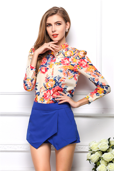 2015 Free Shipping European and American Summer Fashion Stand Collar Long-Sleeved Blouse Plus Size Print Chiffon Women Blouses(China (Mainland))