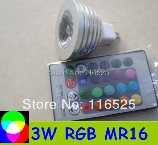 3W RGB Spotligh MR16 base with remote controller  Free shipping LED lght LED bulb RGB Ligh 1pcs MR16 base