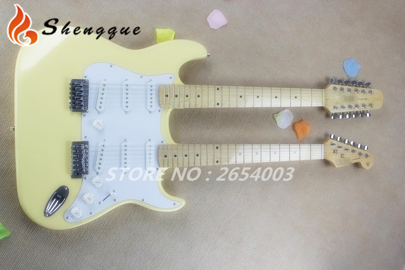 New Arrival ST Double Neck Guitar 6 12 Strings Electrica Guitarra China Factory In Stock For Sale(China (Mainland))