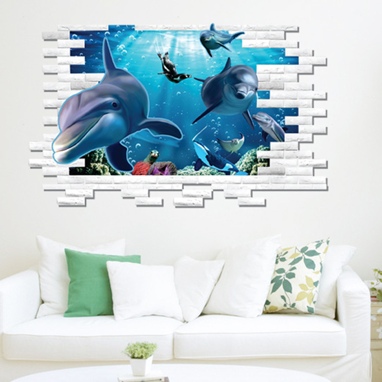 2015 best selling 3D plane dolphins wall stickers sofa background pictures underwater world wall stickers 70*100cm(China (Mainland))