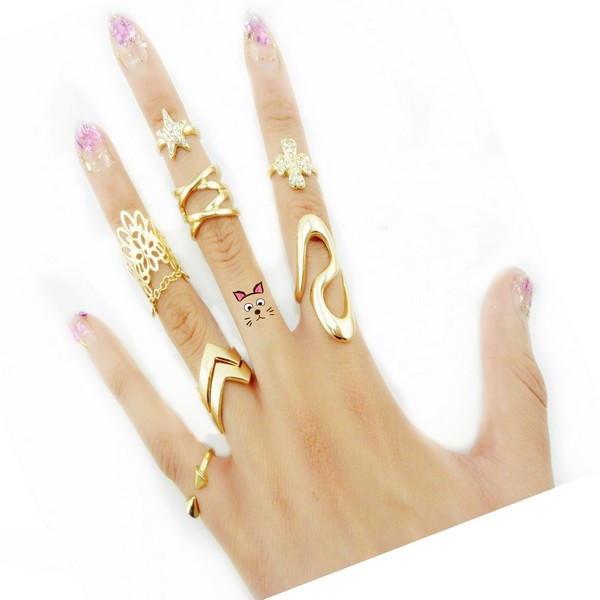 7pcs /lot Shiny Punk style Gold plated Stack Band stars clovers cross female Mid Finger Knuckle Ring Sets for women JZ-082(China (Mainland))