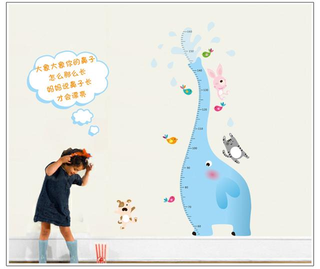 Слон рост диаграмма высота мера стены стикеры для детей номеров DIY украшения питомник мультфильм высота наклейки 9020