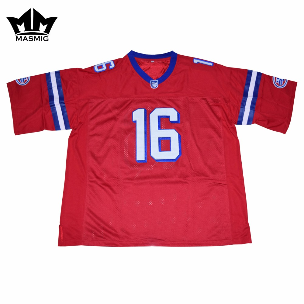 MM MASMIG The Replacements Movie Shane Falco 16 American Football Jersey Red(China (Mainland))