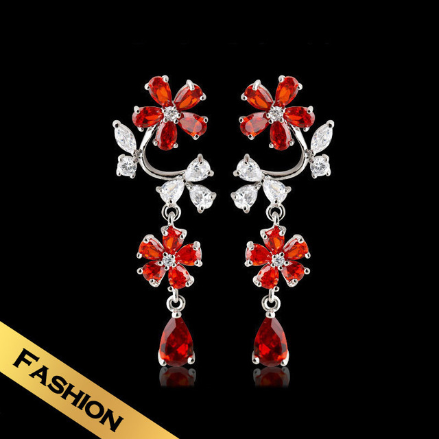 Special Drop Earrings Synthetic Zircon Fashion Classic Flowers Design Free Shipping Luxury Jewelry EHG7B11