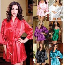 4pcs Set Sexy Women Satin Lace Lingerie Sleepwear Night Robe/Nightdress/G-String