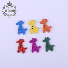 Fashion Multicolor Cute Giraffe Wood Beads 100pcs/Lot Wholesale European Natural Wooden Flat Bead For Kids DIY Jewelry Making
